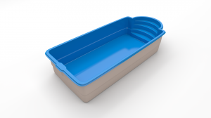 VINYLOESTER SWIMMING POOL IMPERIAL II 10,50 M x 3,70 M x 1,55 M WITH FULL SET OF POOL TECHNOLOGY